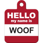 Hello Woof Large Square Quick-Tag