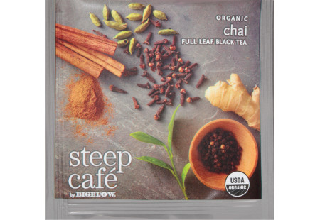 steep Café Organic Chai Black Tea - Box of  50 pyramid tea bags