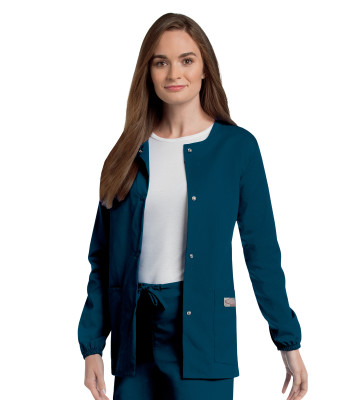 Landau Scrub Zone 3 Pocket Scrub Jacket for Women: Classic Relaxed Fit, Jewel Neck, Snap Front, Elastic Cuff, Durable Medical 75221-