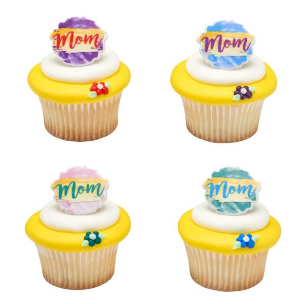 Watercolor Mom Cupcake Rings