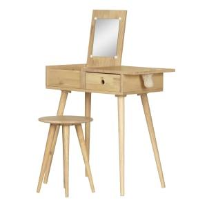 Sweedi - Solid Wood Vanity Table with Stool Set