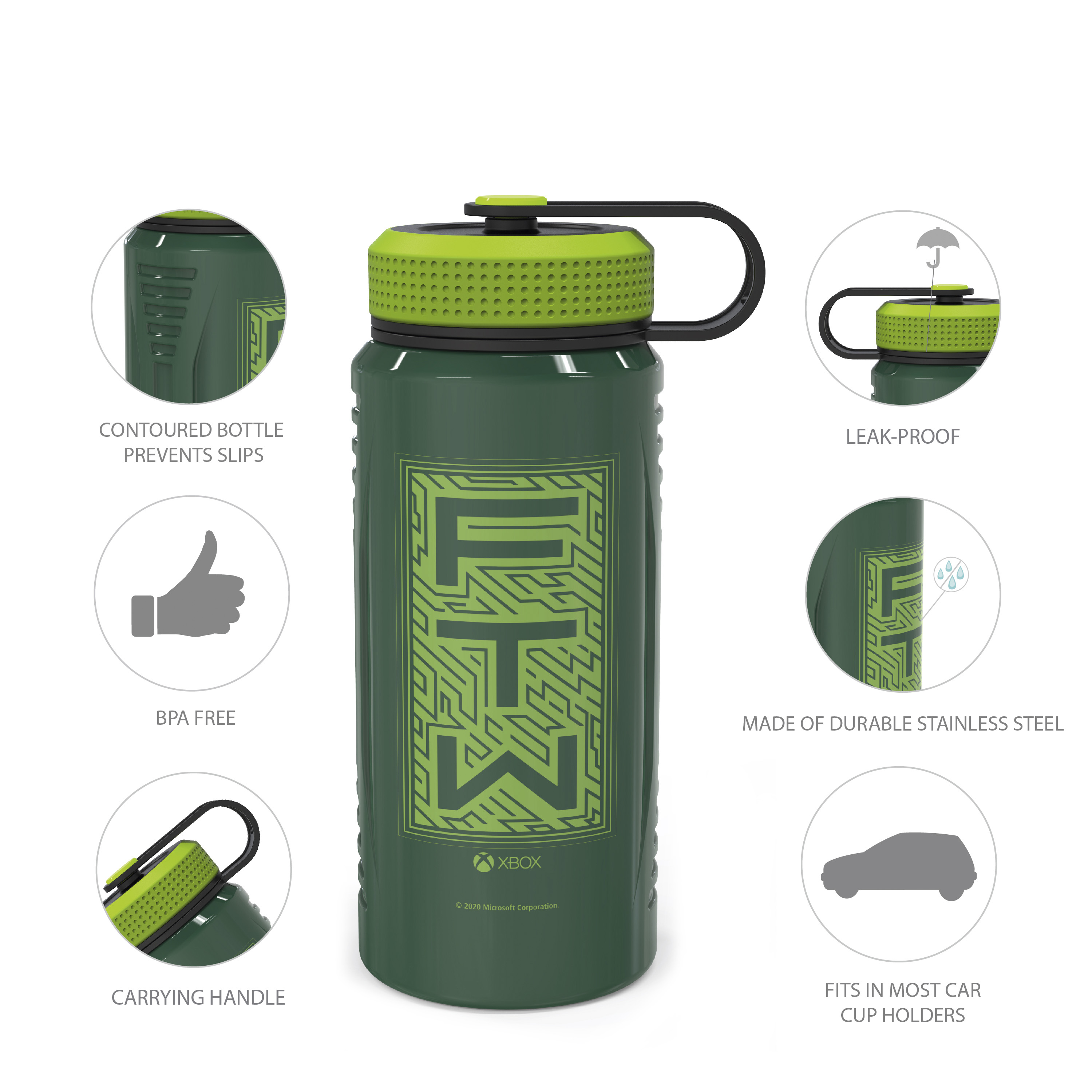 Xbox 24 ounce Stainless Steel Insulated Water Bottle, For the Win slideshow image 7