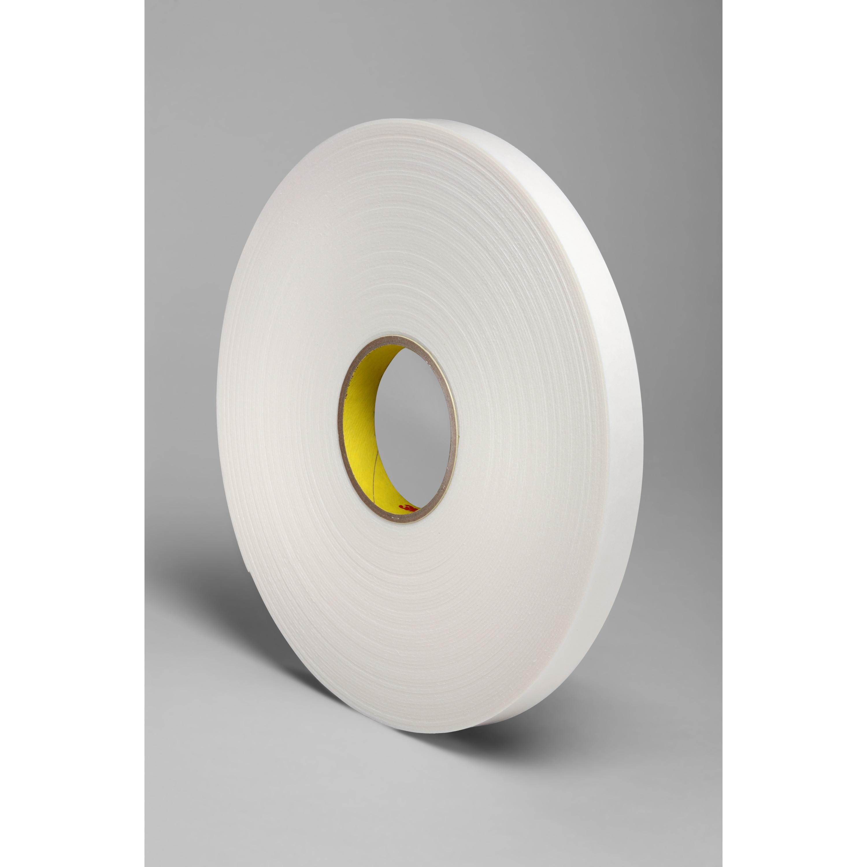 3M™ Double Coated Polyethylene Foam Tape 4466, White, 3/4 in x 36 yd, 62 mil, 12 rolls per case