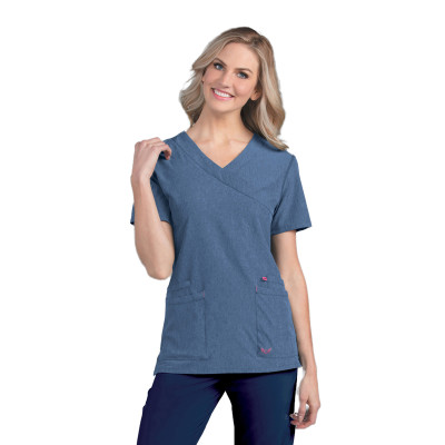 Smitten Miracle Scrub Top for Women: Contemporary Slim Fit, Super Stretch, 2 Pocket Mock Wrap Medical Scrubs S101033-