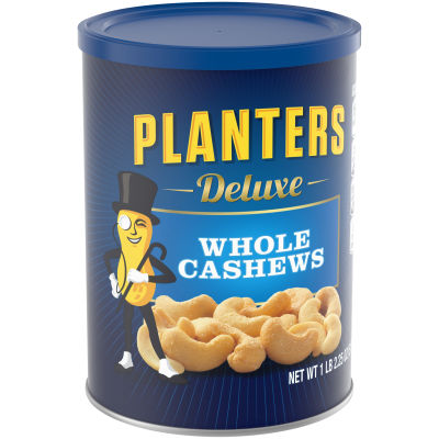 Planters Deluxe Whole Cashews, Salted, 18.25 Ounce Canister