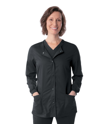 Landau ProFlex Scrub Jacket for Women: Modern Tailored Fit, Stretch, Snap Front Crew Neck Medical Scrubs 3038-