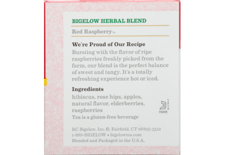 Ingredient panel of Red Raspberry Herbal Tea box