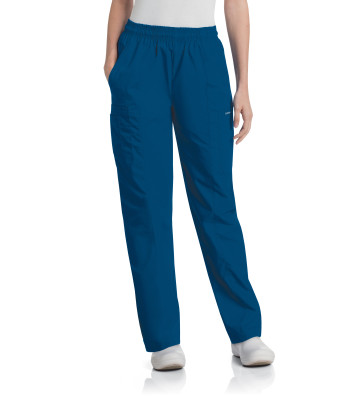 Landau Essentials Scrub Pants for Women: Classic Relaxed Fit, Elastic Waist, Tapered Leg, Durable Pull-On 8501-