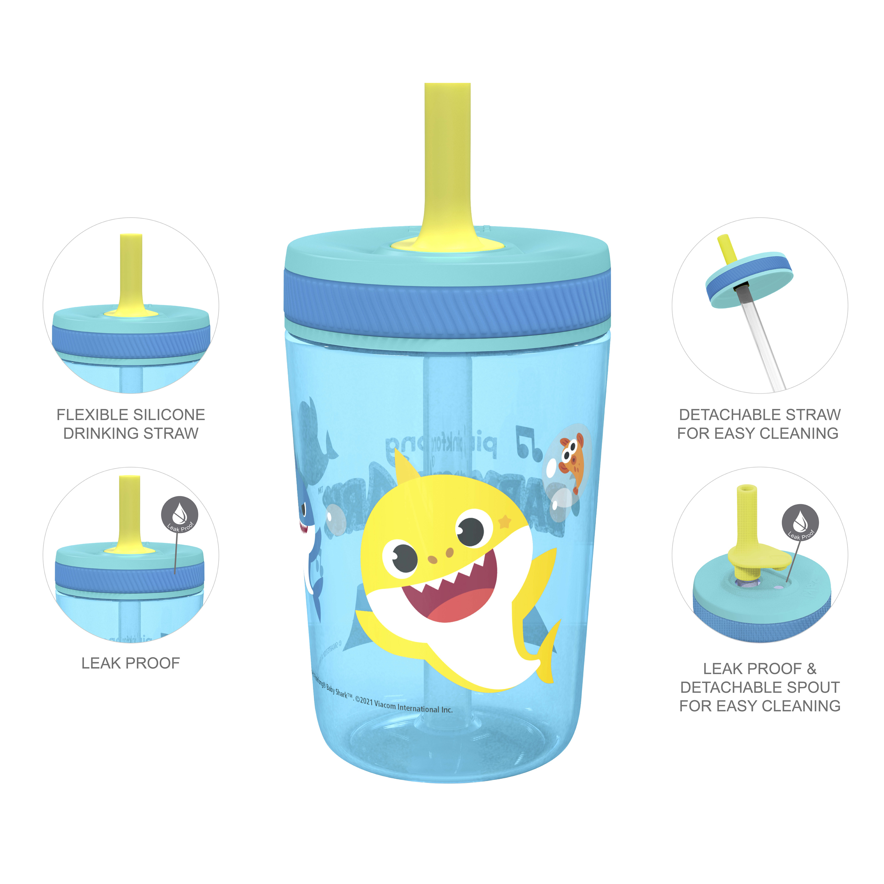 Pinkfong 15  ounce Plastic Tumbler with Lid and Straw, Baby Shark, 2-piece set slideshow image 6