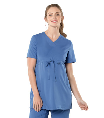 Urbane Ultimate V-Neck Maternity Scrub Top: 3 Pocket, Modern Tailored Fit, Empire Waist, Luxe Soft Stretch Medical Scrubs 9699-