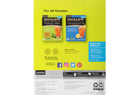 Side panel with brewing instructions of Tropical Iced Green Tea K-cup pods - total of 22 pods