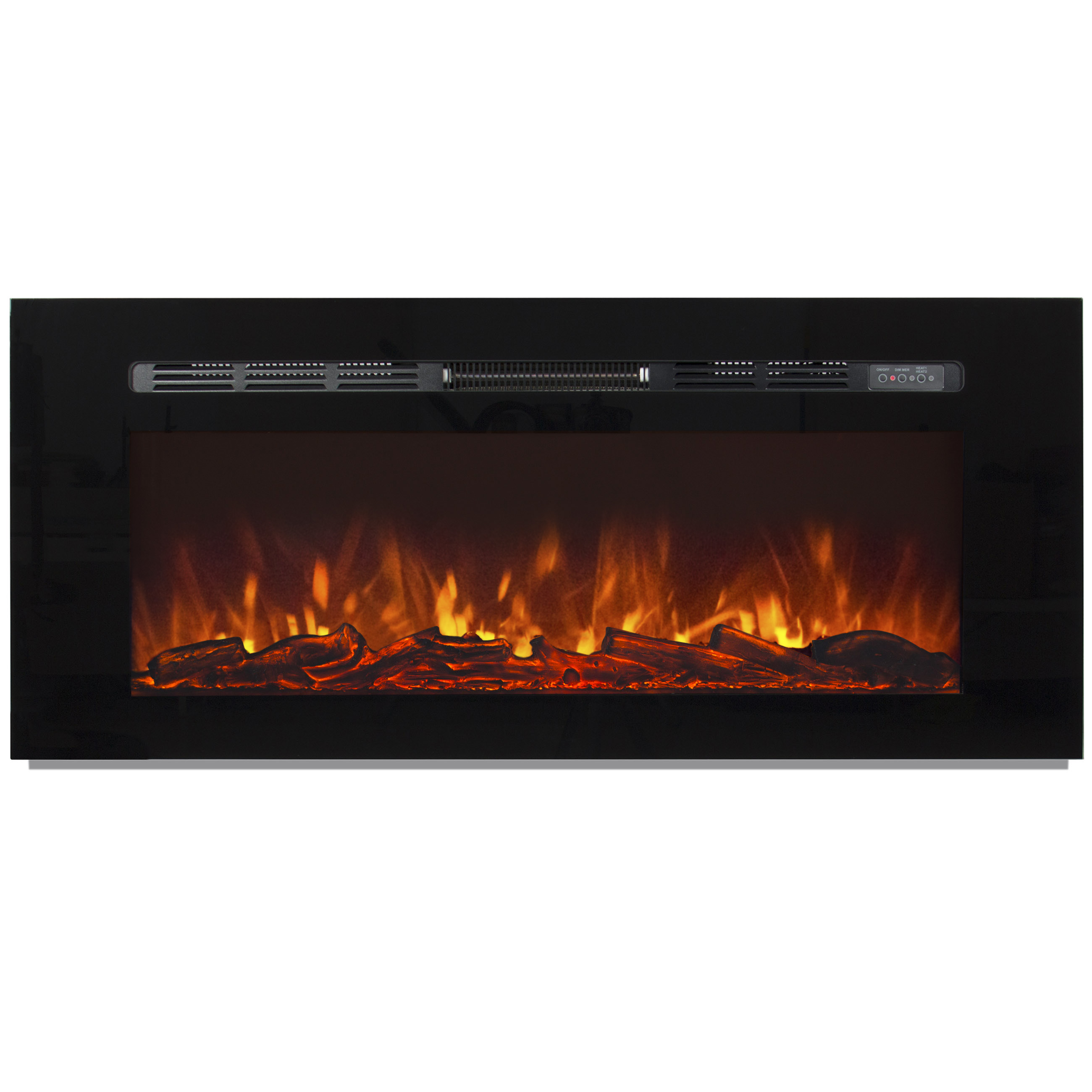 "Electric Fireplace With Heat: 1500W Heat Adjustable 50"" In-Wall Recessed Electric"