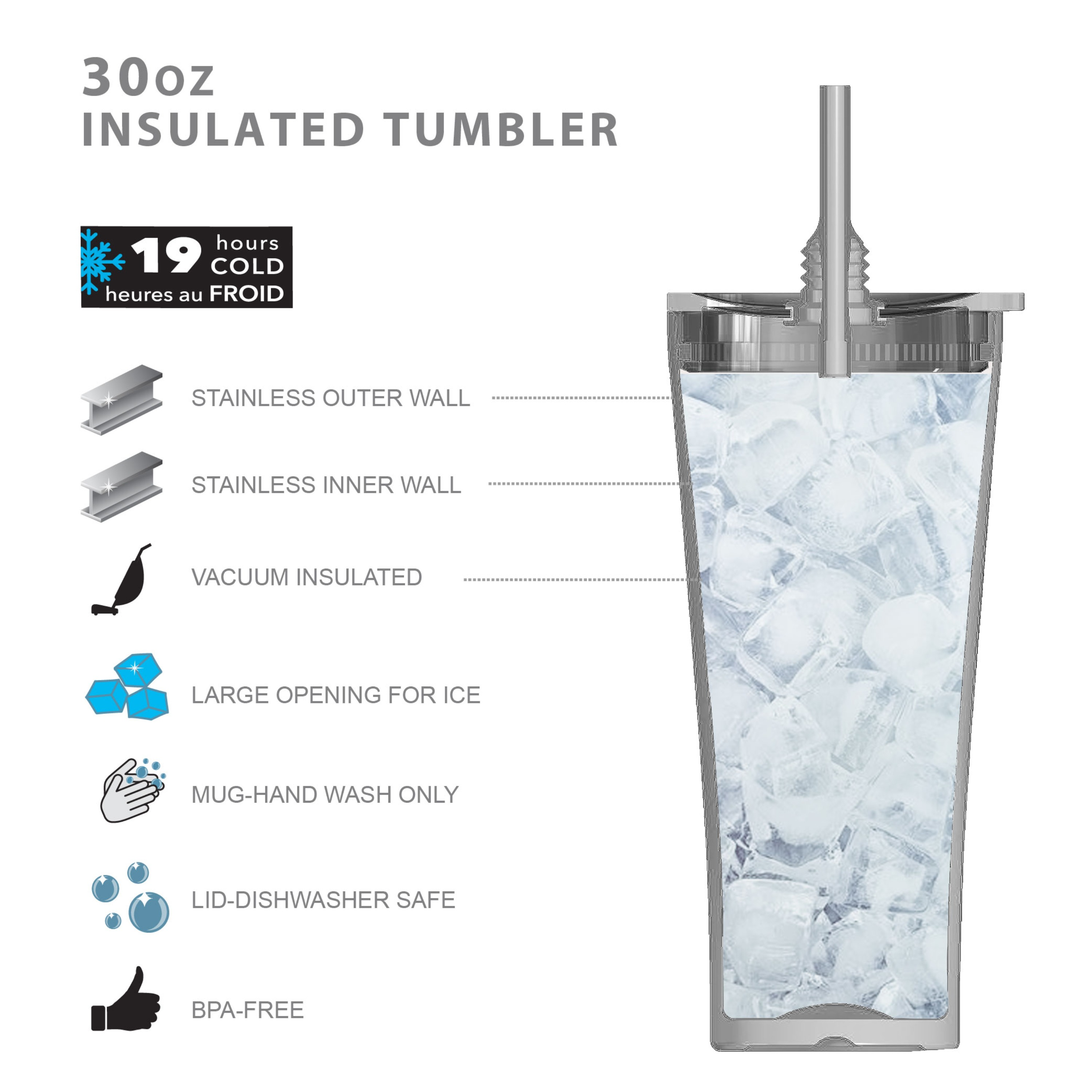 Alfalfa 30 ounce Vacuum Insulated Stainless Steel Tumbler, Charcoal slideshow image 5