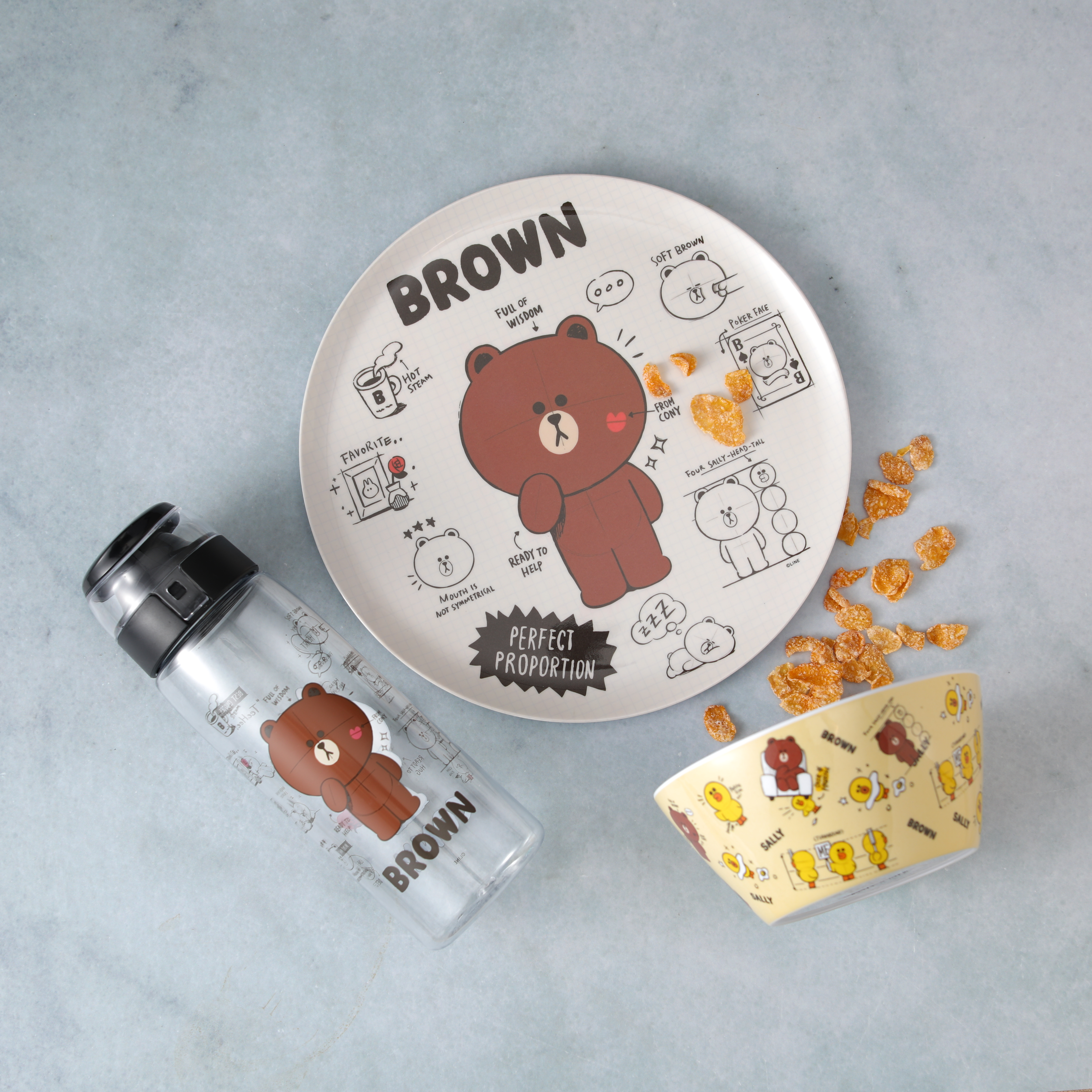 Line Friends Dinnerware Set, Teddy Bear, 2-piece set slideshow image 10