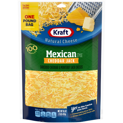 Kraft Mexican Style Cheddar Jack Finely Shredded Natural Cheese 16 oz Pouch