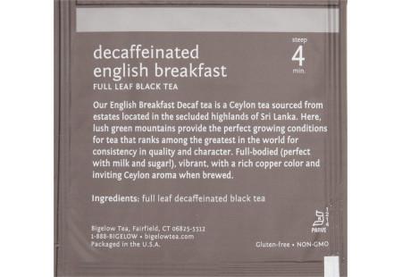 steep cafe by Bigelow full leaf english breakfast decaffeinated black tea pyramid bag in overwrap - ingredient list