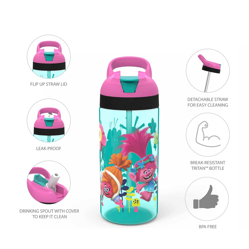 Trolls Movie Kid's Water Bottle and Sandwich Container Lunch Set, Poppy and Friends, 2-piece set slideshow image 3