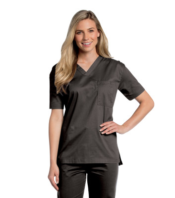 Landau All Day Medical Scrub Top Unisex Classic Generous Fit Mechanical Stretch 1 Pocket V-Neck Shirt 4139-