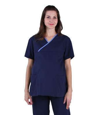 Urbane Essentials Maternity Scrub Top for Women: 2 Pocket, Modern Tailored Fit Mock Wrap Medical Scrubs 9590-