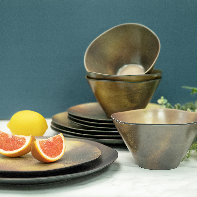 Organica Dinnerware Set, Metallic, 12-piece set slideshow image 7