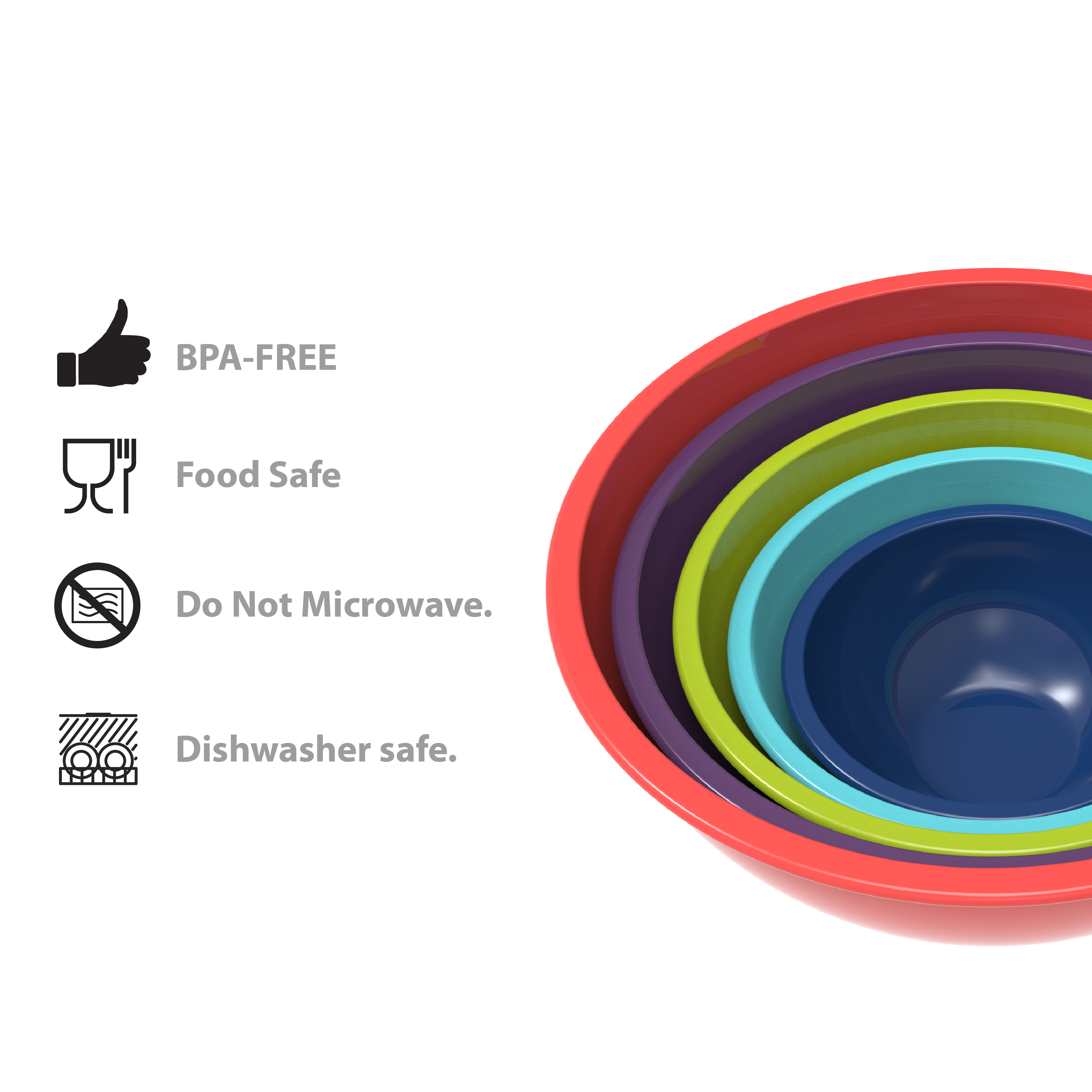 Colorway Plastic Serving and Mixing Bowl Set, Blue and Red, 5-piece set slideshow image 2