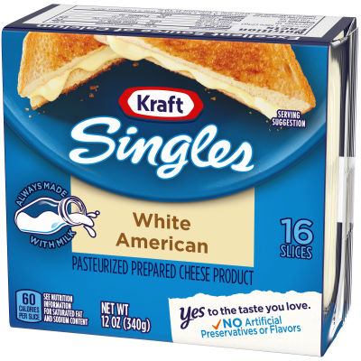 Kraft Singles White American Cheese Slices, 12 oz (16 slices)