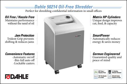 Dahle 50214 Oil Free Small Office Shredder InfoGraphic