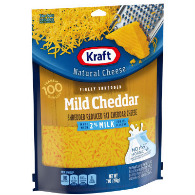 Kraft Mild Cheddar 2% Milk Finely Shredded Natural Cheese 7 oz Pouch