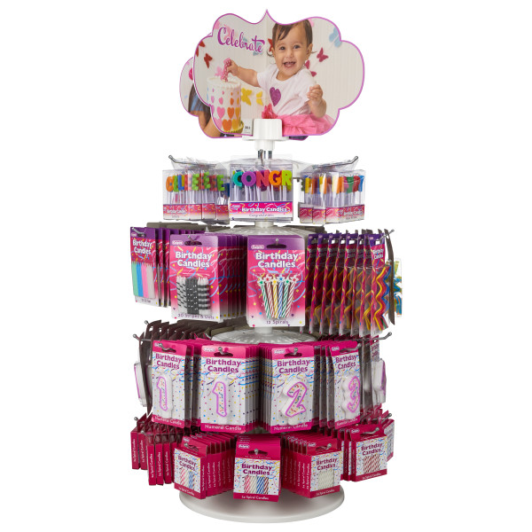 Pre-Filled 4-Tier Spinner Counter Candle Rack with Candles