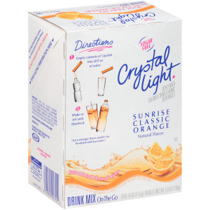 CRYSTAL LIGHT Single Serve Sugar-Free Sunrise Orange On-the-Go Powdered Mix, 30-0.16 oz. Packets (Pack of 4 Boxes) image
