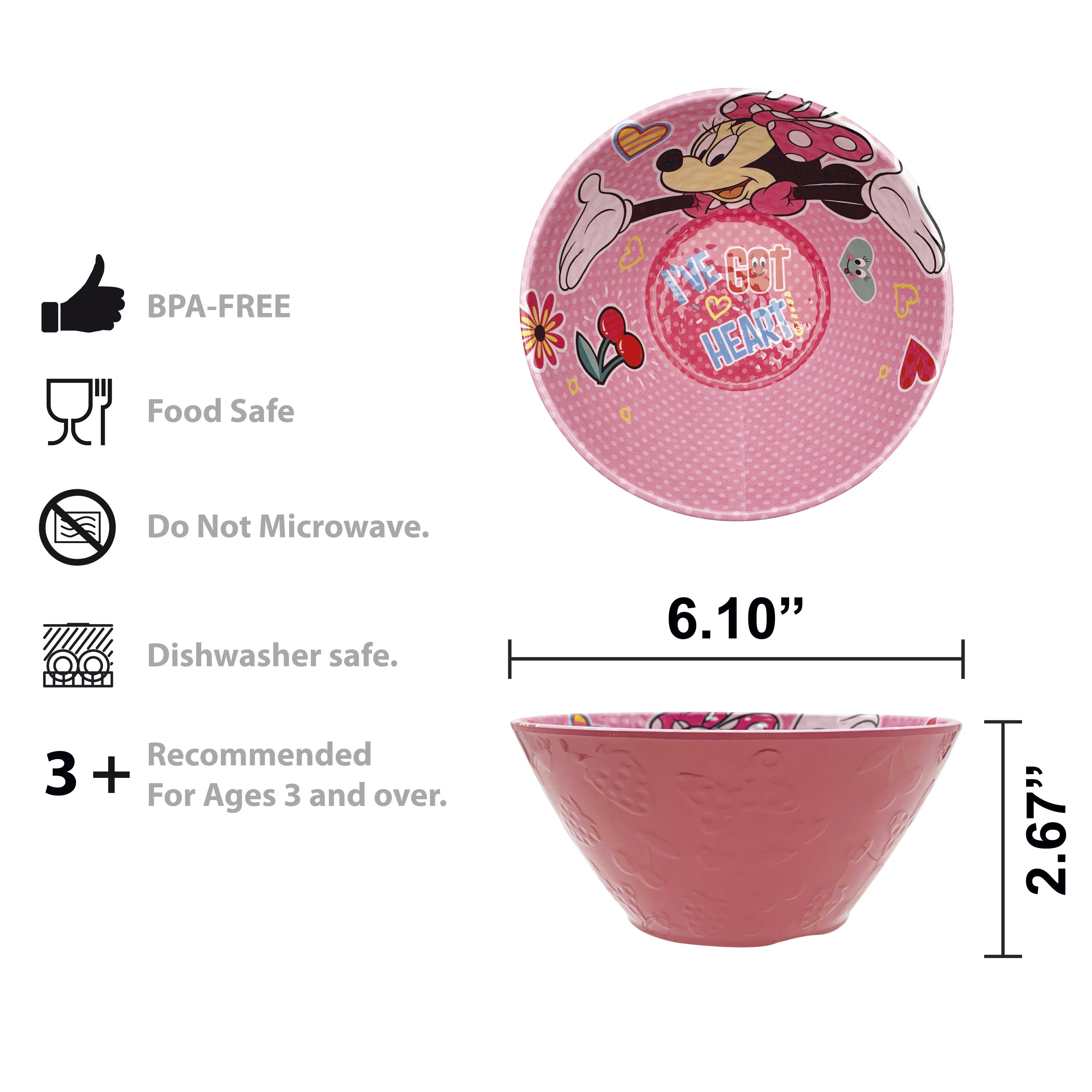 Disney Kids 9-inch Plate and 6-inch Bowl Set, Minnie Mouse, 2-piece set slideshow image 3
