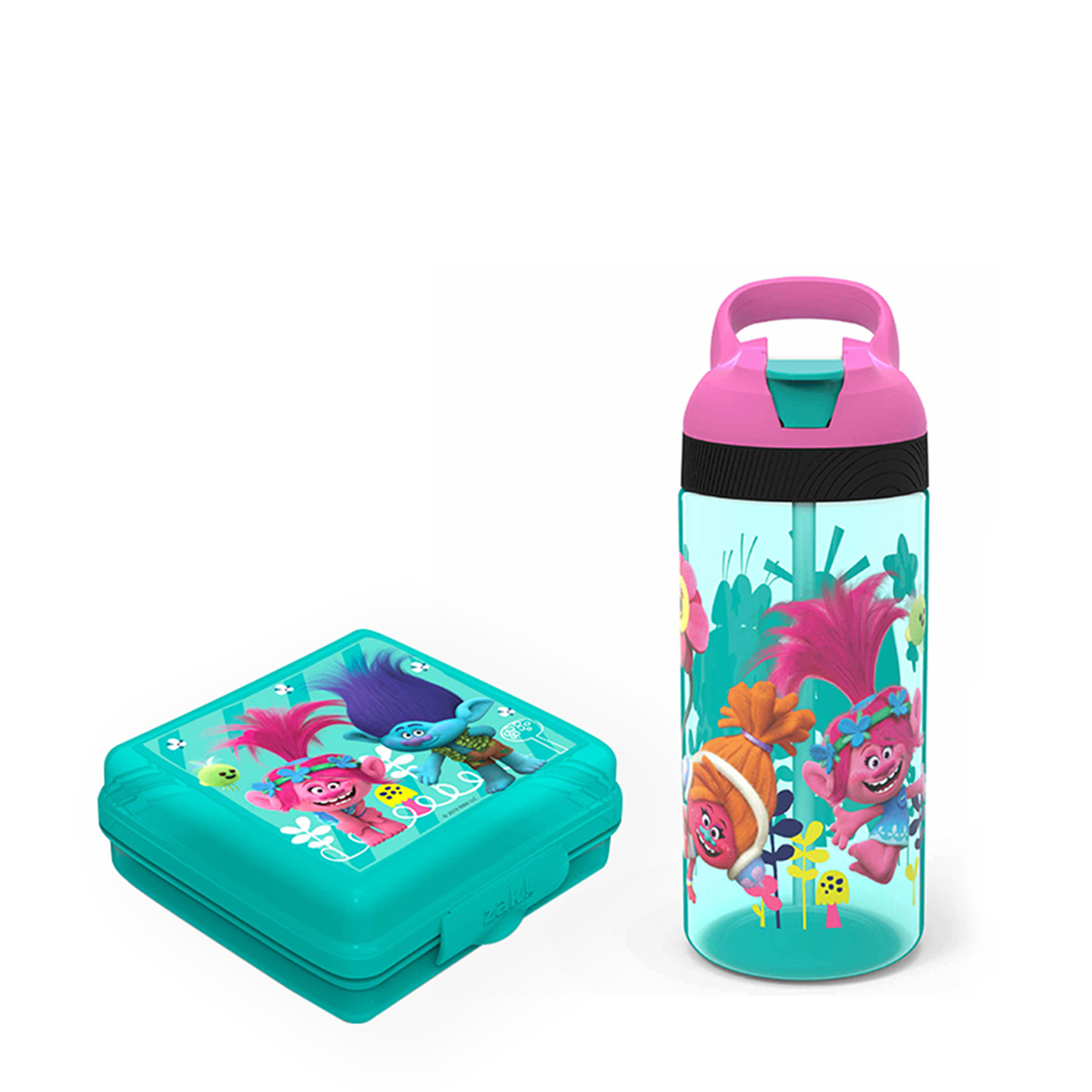 Trolls Movie Kid's Water Bottle and Sandwich Container Lunch Set, Poppy and Friends, 2-piece set slideshow image 2
