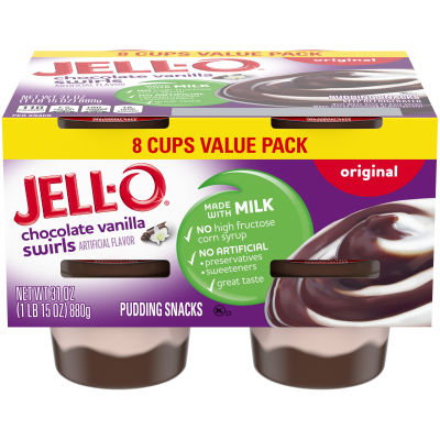 Jell-O Ready to Eat Chocolate Vanilla Swirl Pudding Snack, 31 oz Sleeve (8 Cups)