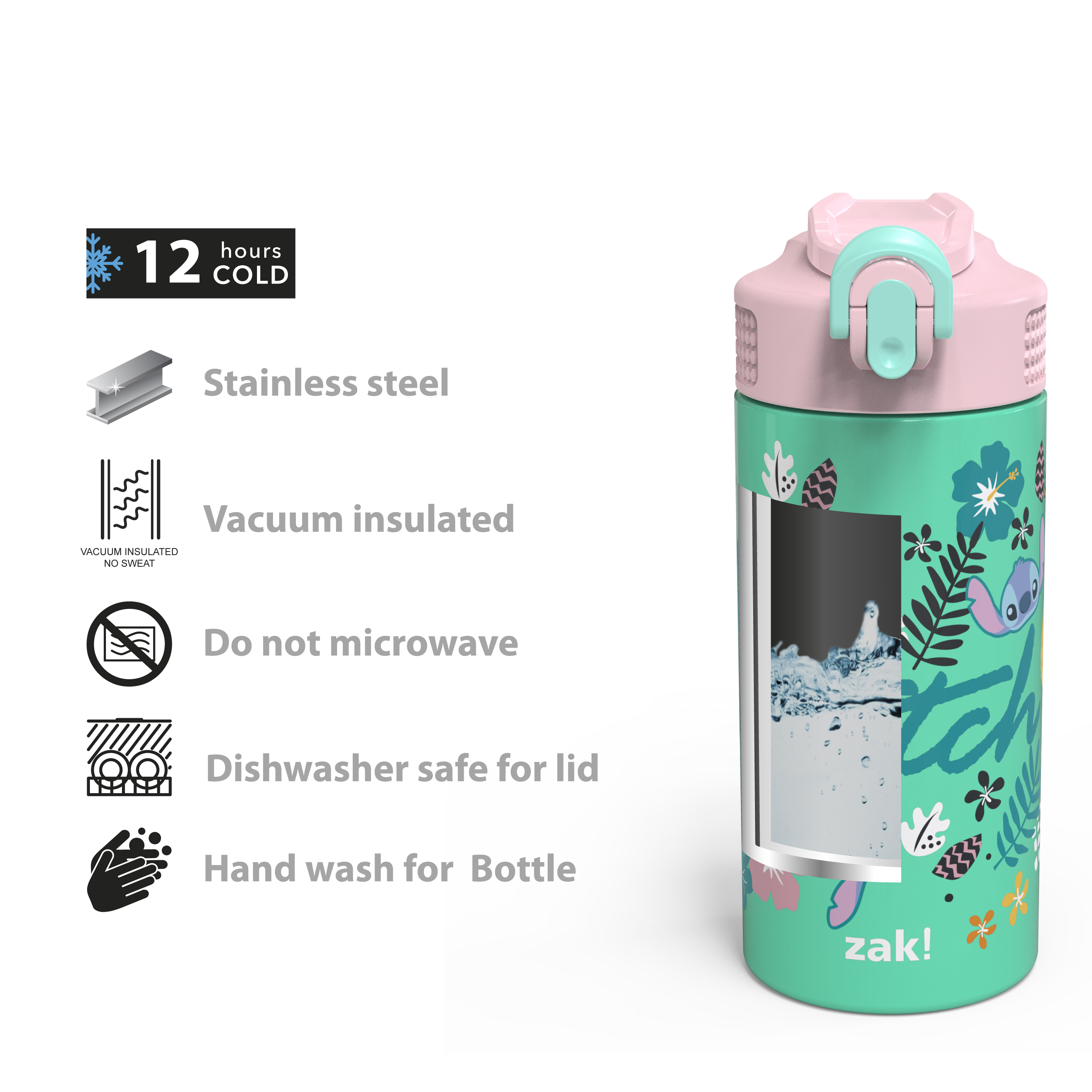 Disney 14 ounce Stainless Steel Vacuum Insulated Water Bottle, Lilo and Stitch slideshow image 8