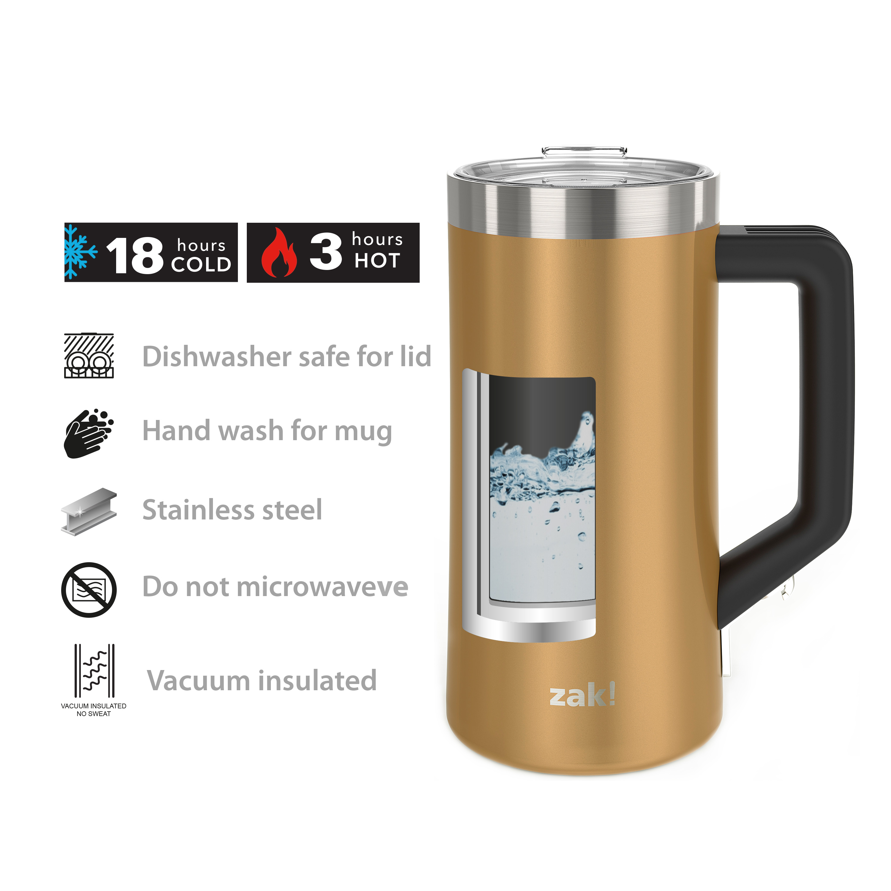 Creston 25 ounce Stainless Steel Vacuum Insulated Beer Stein, Copper slideshow image 6