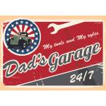 """Aluminum Dad's Garage Sign 10"""" x 14"""""""