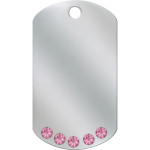 Chrome with Pink Crystals Large Military ID Quick-Tag