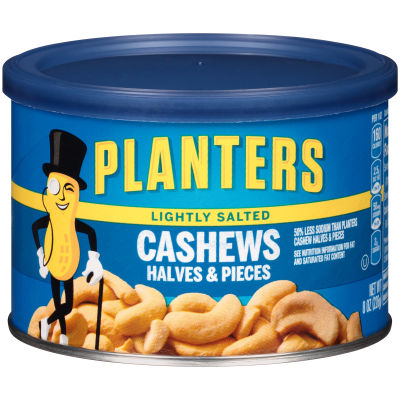 Planters Lightly Salted Cashew Halves & Pieces 8 oz Canister