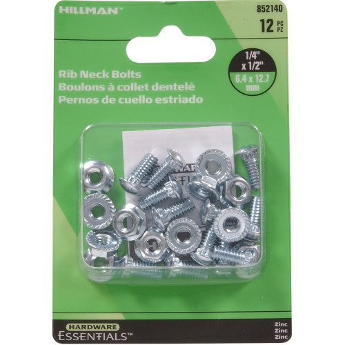 Hardware Essentials Zinc Plated Ribneck Bolts/Nuts 1/4 x 1/2 in