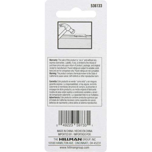 Hillman Small Push-In-Self-Leveling Sawtooth Picture Hanger (Pack of 3)