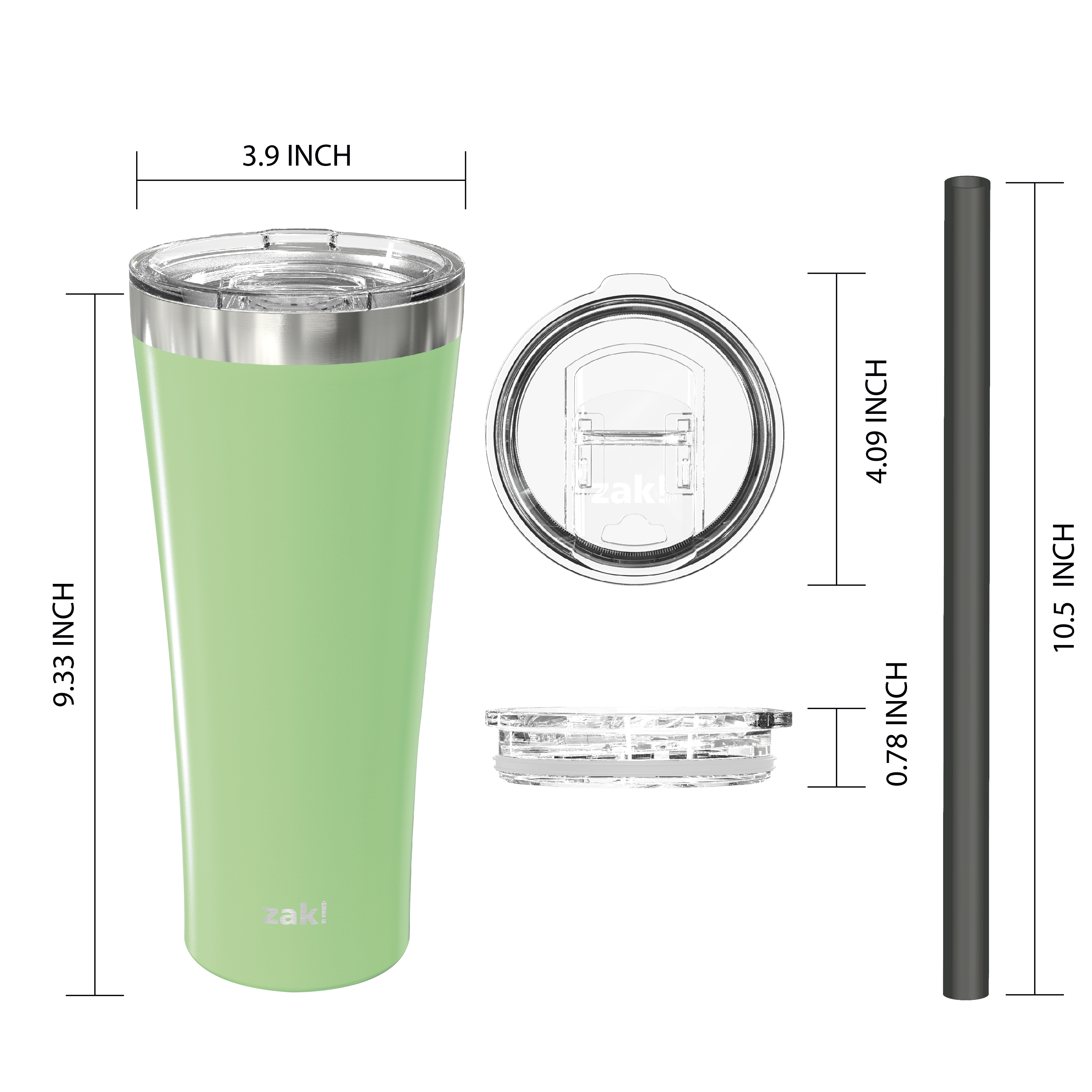 Alpine 30 ounce Stainless Steel Vacuum Insulated Tumbler with Straw, Neo Mint slideshow image 2