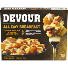 Devour All Day Breakfast Double Sausage & Bacon Loaded Tots Frozen Dinner, 9 oz Box