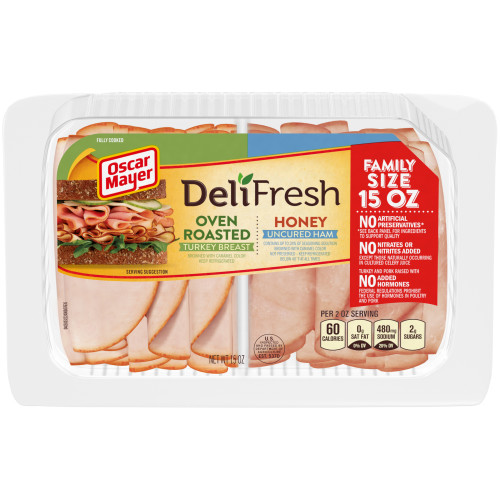 Oscar Mayer Deli Fresh Oven Roasted Turkey & Honey Ham Combo 15 oz Tray