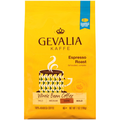 Gevalia Espresso Roast Whole Beans Coffee 7 oz Bag