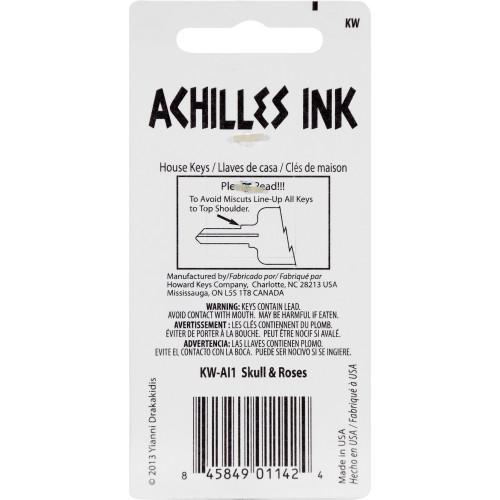 Achilles Ink Skull & Roses Key Blank Kwikset 66/97 KW1/10