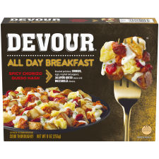 Devour All Day Breakfast Spicy Queso Hash Frozen Dinner, 9 oz Box