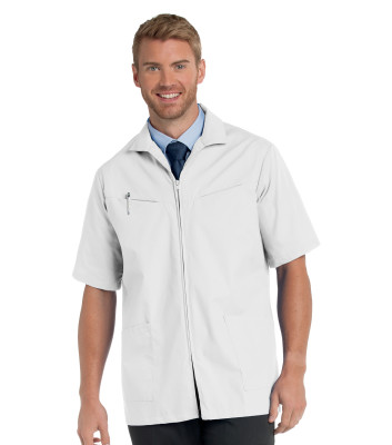 Landau Consultation Lab Coat for Men - Classic Fit, 4 Pocket, Zip Front Scrub Jacket 1140-