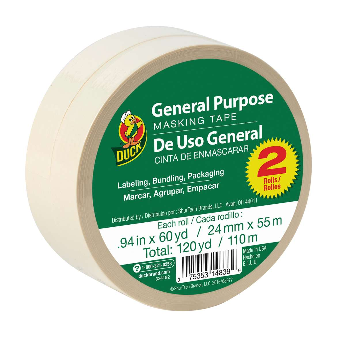 Duck® Brand General Purpose Masking Tape - Beige, 2 pk, .94 in. x 60 yd. Image