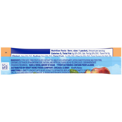 Crystal Light On the Go Sugar Free Powdered Peach Tea 0.07 oz Wrapper
