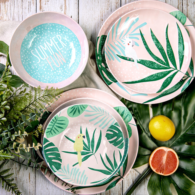 Summer Prints Dinnerware Set, Pink Tropics, 12-piece set slideshow image 2